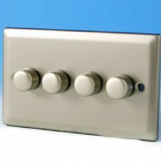 Varilight 4 Gang 1 or 2 Way 4x250W Push on/off Dimmer Light Switch Satin Chrome HN44